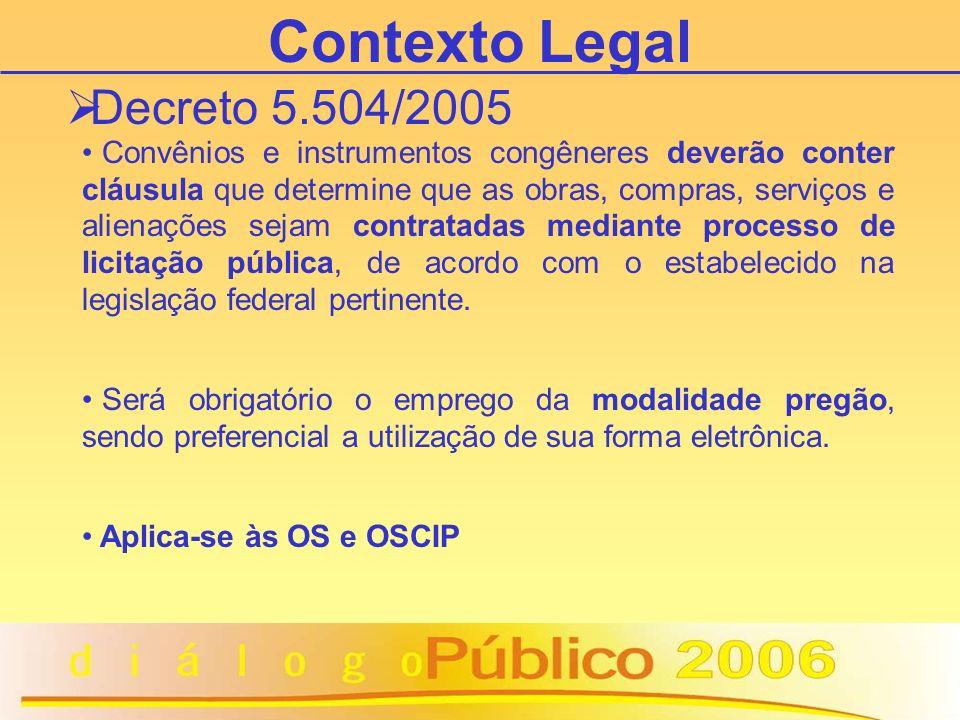 Entendimento TCU Acórdão 1.777/2005 Oscips se submetem ao Regulamento Próprio de contratação de obras e serviços, bem como para as compras, nos termos do art.