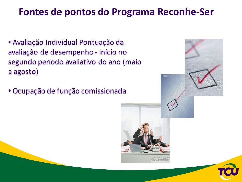Avaliação Individual Pontuação da avaliação de desempenho - início no segundo período avaliativo do ano (maio a agosto) Ocupação de função comissionad