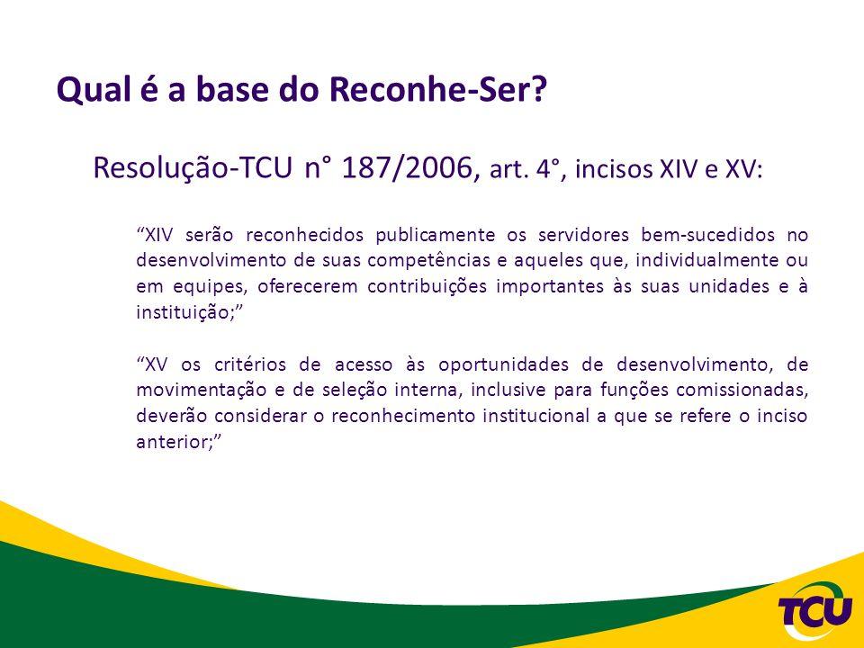 Resolução-TCU n° 187/2006, art. 4°, incisos XIV e XV: XIV serão reconhecidos publicamente os servidores bem-sucedidos no desenvolvimento de suas compe