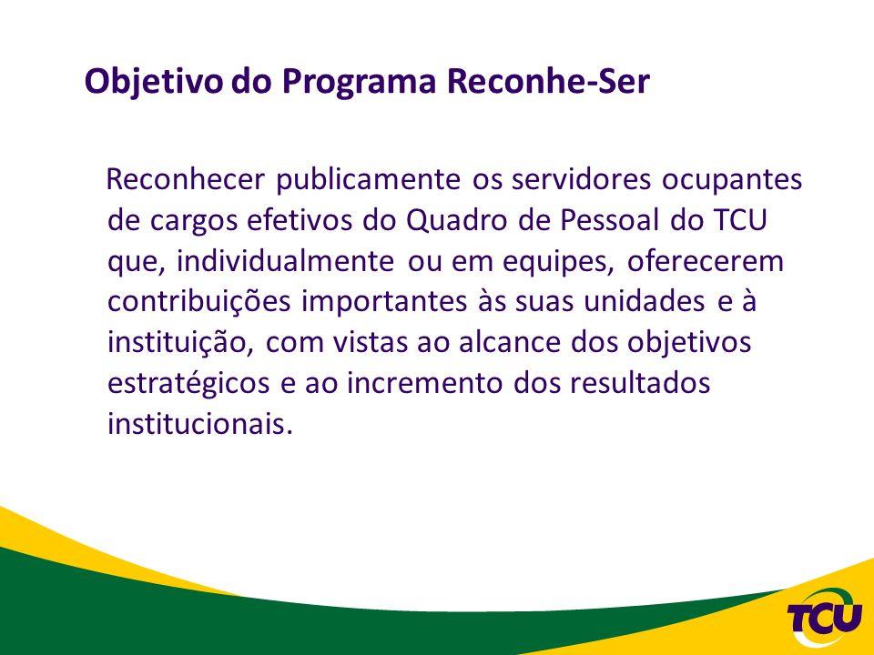 Objetivo do Programa Reconhe-Ser Reconhecer publicamente os servidores ocupantes de cargos efetivos do Quadro de Pessoal do TCU que, individualmente o