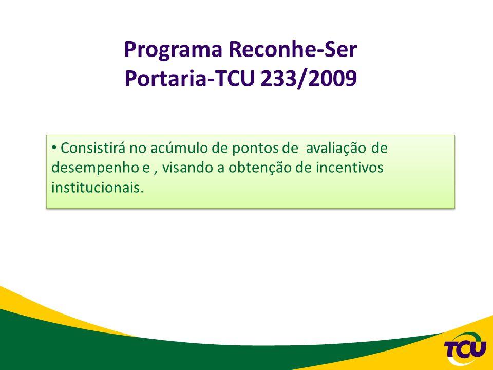 Programa Reconhe-Ser Portaria-TCU 233/2009 Consistirá no acúmulo de pontos de avaliação de desempenho e, visando a obtenção de incentivos instituciona