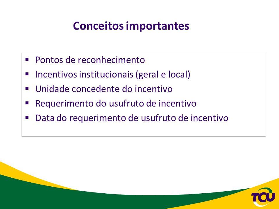 Conceitos importantes Pontos de reconhecimento Incentivos institucionais (geral e local) Unidade concedente do incentivo Requerimento do usufruto de i