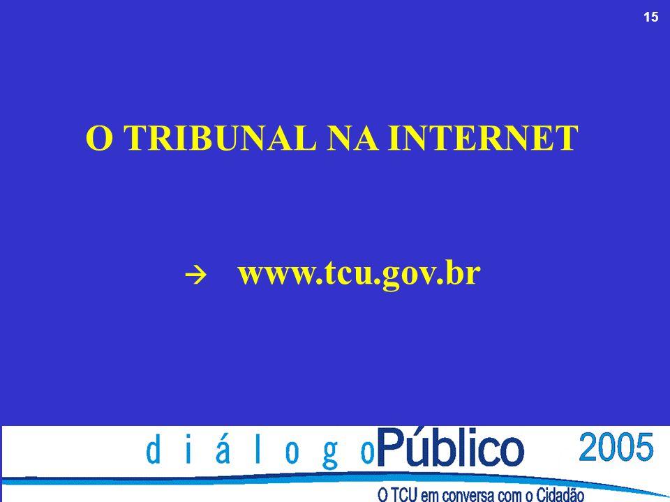 15 O TRIBUNAL NA INTERNET www.tcu.gov.br