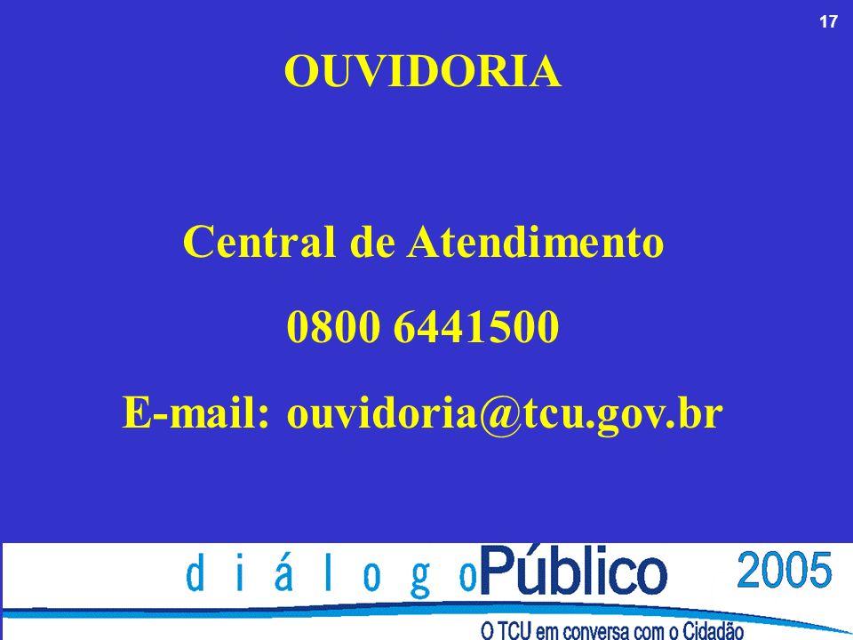 17 OUVIDORIA Central de Atendimento 0800 6441500 E-mail: ouvidoria@tcu.gov.br