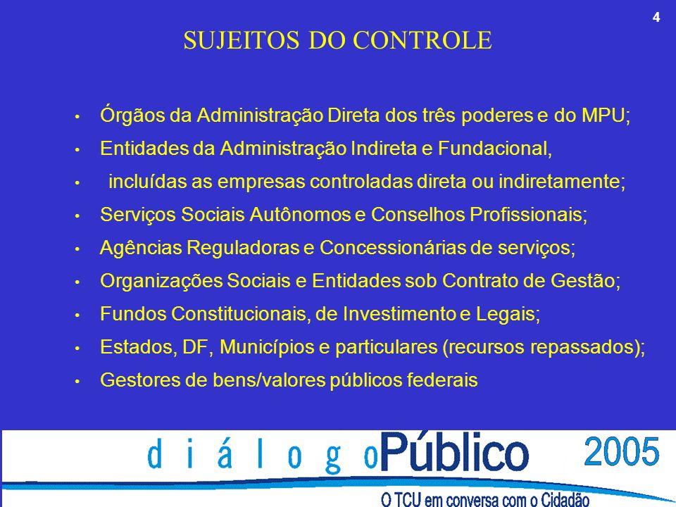 4 SUJEITOS DO CONTROLE Órgãos da Administração Direta dos três poderes e do MPU; Entidades da Administração Indireta e Fundacional, incluídas as empresas controladas direta ou indiretamente; Serviços Sociais Autônomos e Conselhos Profissionais; Agências Reguladoras e Concessionárias de serviços; Organizações Sociais e Entidades sob Contrato de Gestão; Fundos Constitucionais, de Investimento e Legais; Estados, DF, Municípios e particulares (recursos repassados); Gestores de bens/valores públicos federais