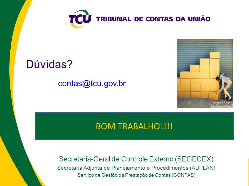 Secretaria-Geral de Controle Externo (SEGECEX) Secretaria Adjunta de Planejamento e Procedimentos (ADPLAN) Serviço de Gestão da Prestação de Contas (CONTAS) Dúvidas.