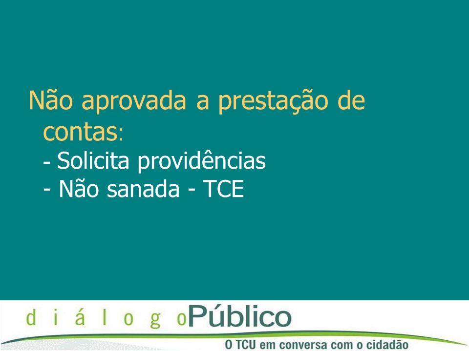 Não aprovada a prestação de contas : - Solicita providências - Não sanada - TCE