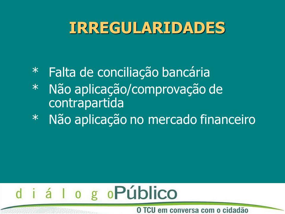 IRREGULARIDADES *Falta de conciliação bancária *Não aplicação/comprovação de contrapartida *Não aplicação no mercado financeiro