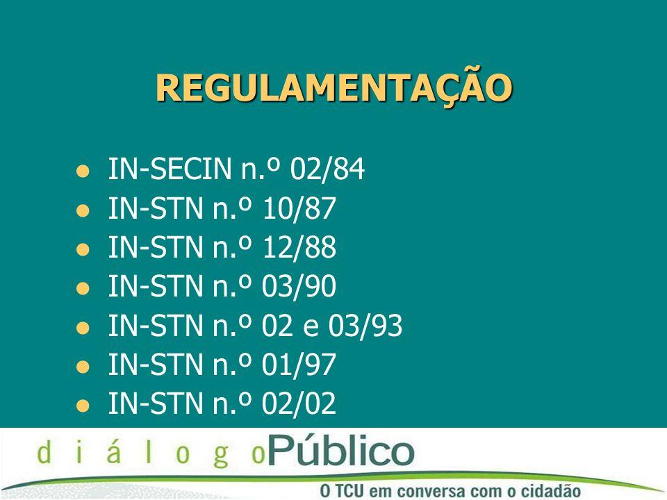 REGULAMENTAÇÃO REGULAMENTAÇÃO IN-SECIN n.º 02/84 IN-STN n.º 10/87 IN-STN n.º 12/88 IN-STN n.º 03/90 IN-STN n.º 02 e 03/93 IN-STN n.º 01/97 IN-STN n.º 02/02