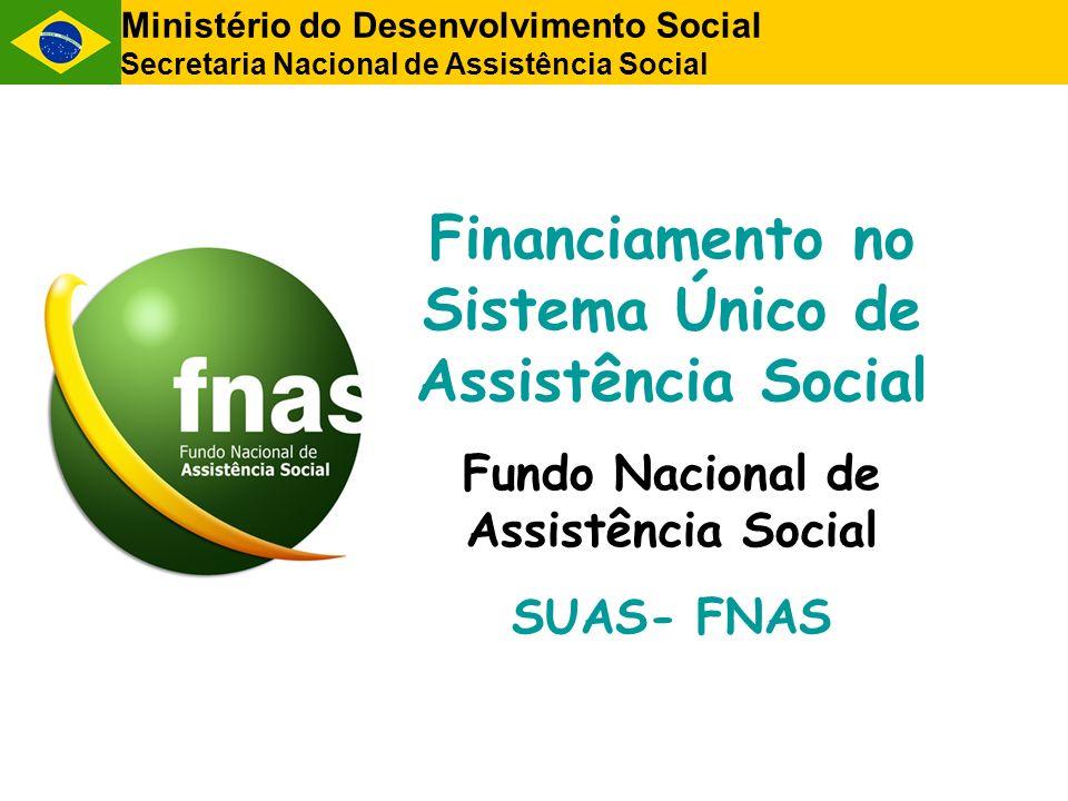 Ministério do Desenvolvimento Social Secretaria Nacional de Assistência Social Financiamento no Sistema Único de Assistência Social Fundo Nacional de
