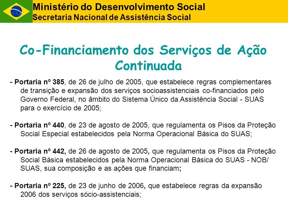 Co-Financiamento dos Serviços de Ação Continuada - Portaria nº 385, de 26 de julho de 2005, que estabelece regras complementares de transição e expans