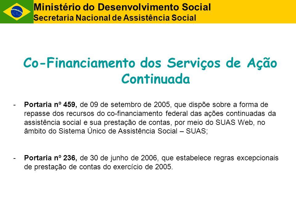 Co-Financiamento dos Serviços de Ação Continuada -Portaria nº 459, de 09 de setembro de 2005, que dispõe sobre a forma de repasse dos recursos do co-f