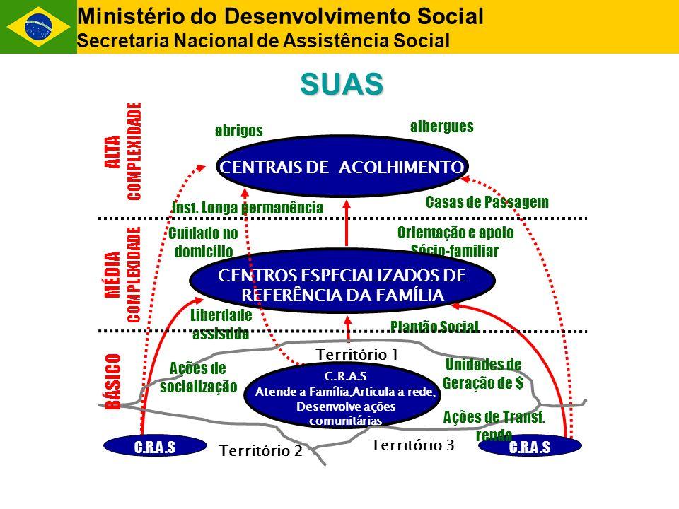 Ministério do Desenvolvimento Social Secretaria Nacional de Assistência Social MÉDIA COMPLEXIDADE Cuidado no domicílio Liberdade assistida Plantão Soc