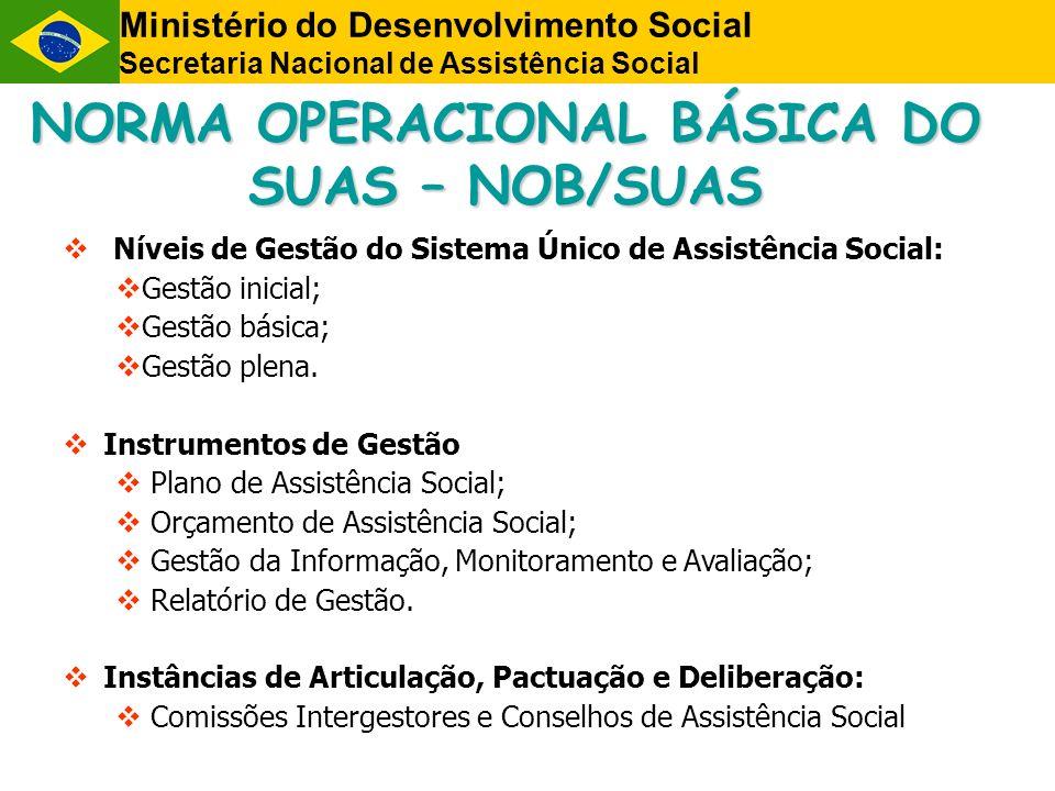NORMA OPERACIONAL BÁSICA DO SUAS – NOB/SUAS Níveis de Gestão do Sistema Único de Assistência Social: Gestão inicial; Gestão básica; Gestão plena. Inst