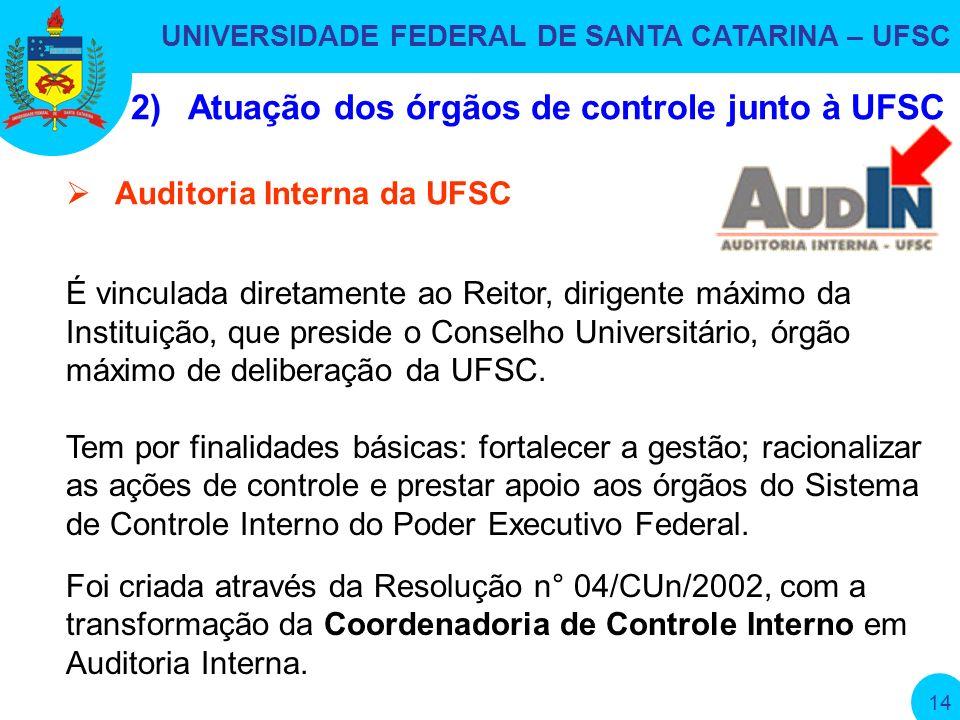 UNIVERSIDADE FEDERAL DE SANTA CATARINA – UFSC 14 É vinculada diretamente ao Reitor, dirigente máximo da Instituição, que preside o Conselho Universitário, órgão máximo de deliberação da UFSC.
