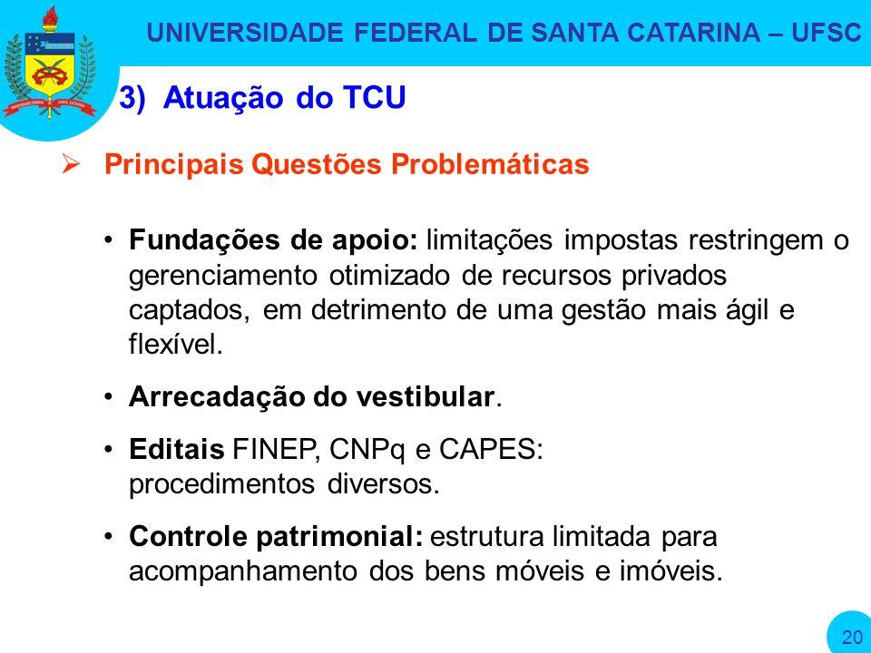 UNIVERSIDADE FEDERAL DE SANTA CATARINA – UFSC 20 Fundações de apoio: limitações impostas restringem o gerenciamento otimizado de recursos privados captados, em detrimento de uma gestão mais ágil e flexível.
