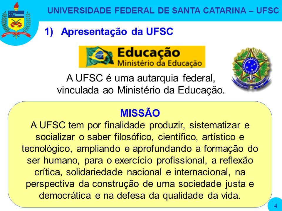 UNIVERSIDADE FEDERAL DE SANTA CATARINA – UFSC 4 1)Apresentação da UFSC A UFSC é uma autarquia federal, vinculada ao Ministério da Educação.