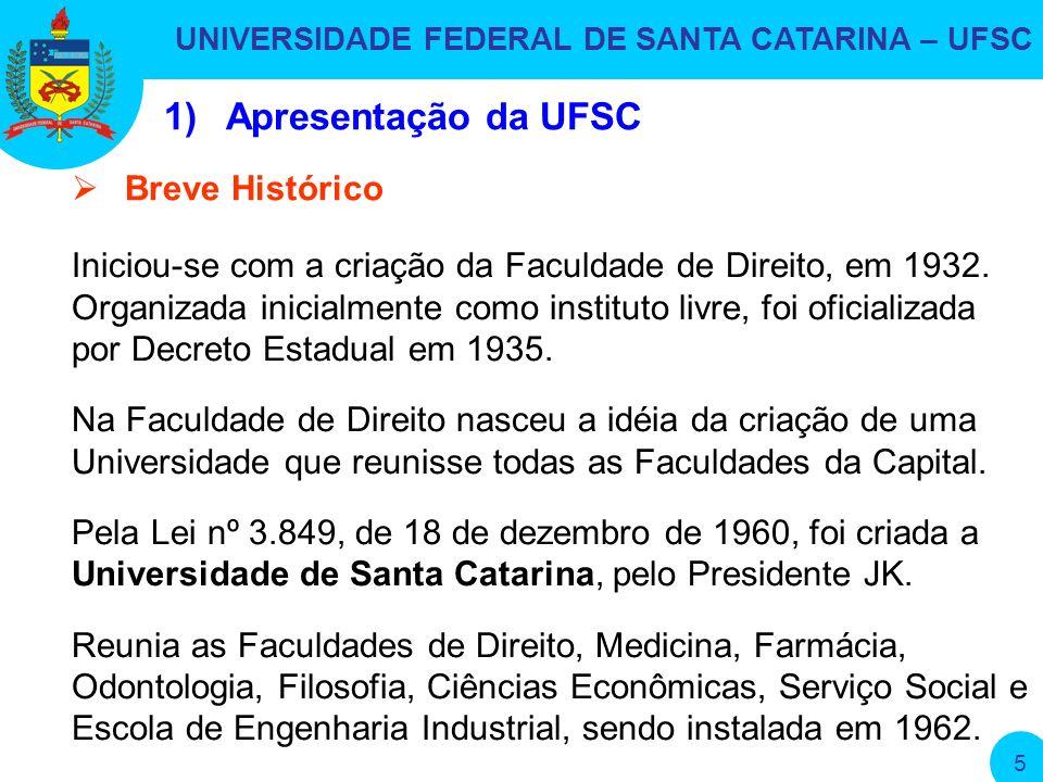 UNIVERSIDADE FEDERAL DE SANTA CATARINA – UFSC 5 1)Apresentação da UFSC Iniciou-se com a criação da Faculdade de Direito, em 1932.