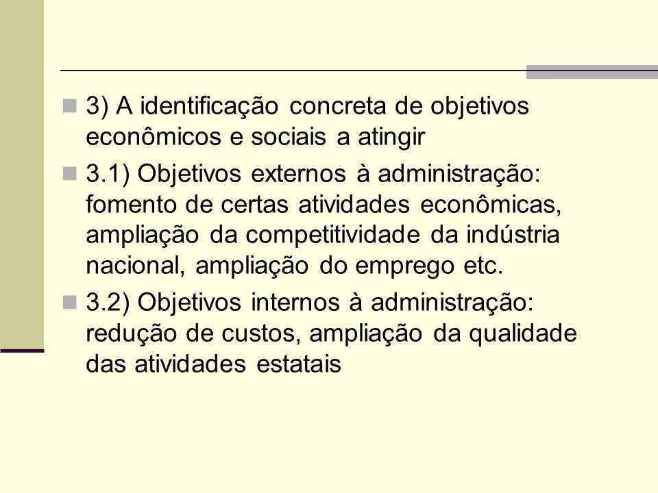 3) A identificação concreta de objetivos econômicos e sociais a atingir 3.1) Objetivos externos à administração: fomento de certas atividades econômicas, ampliação da competitividade da indústria nacional, ampliação do emprego etc.