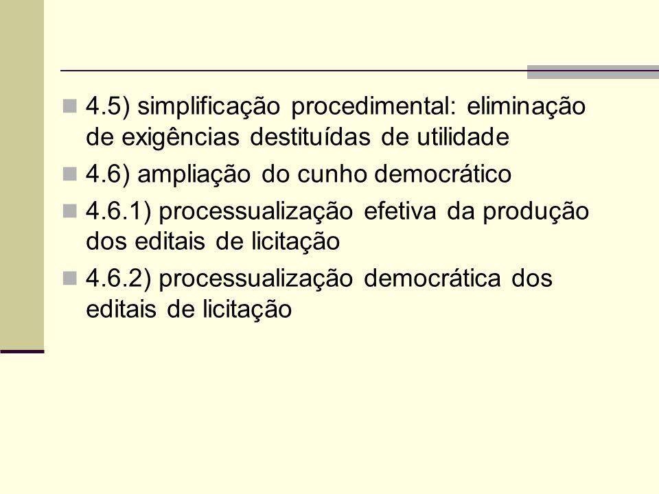 4.5) simplificação procedimental: eliminação de exigências destituídas de utilidade 4.6) ampliação do cunho democrático 4.6.1) processualização efetiva da produção dos editais de licitação 4.6.2) processualização democrática dos editais de licitação