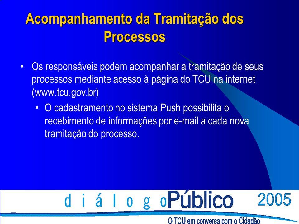 Acompanhamento da Tramitação dos Processos Os responsáveis podem acompanhar a tramitação de seus processos mediante acesso à página do TCU na internet (www.tcu.gov.br) O cadastramento no sistema Push possibilita o recebimento de informações por e-mail a cada nova tramitação do processo.
