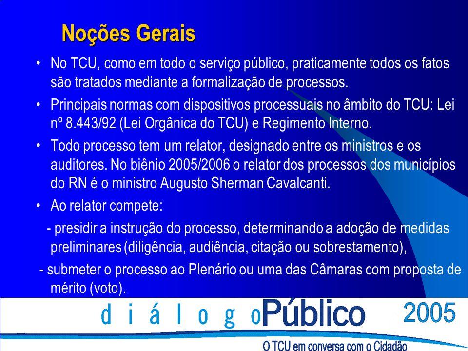 Noções Gerais No TCU, como em todo o serviço público, praticamente todos os fatos são tratados mediante a formalização de processos.