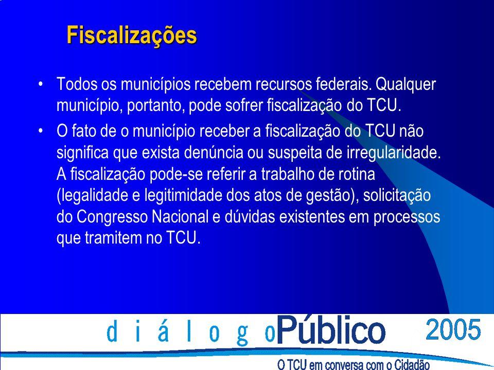 Fiscalizações Todos os municípios recebem recursos federais.