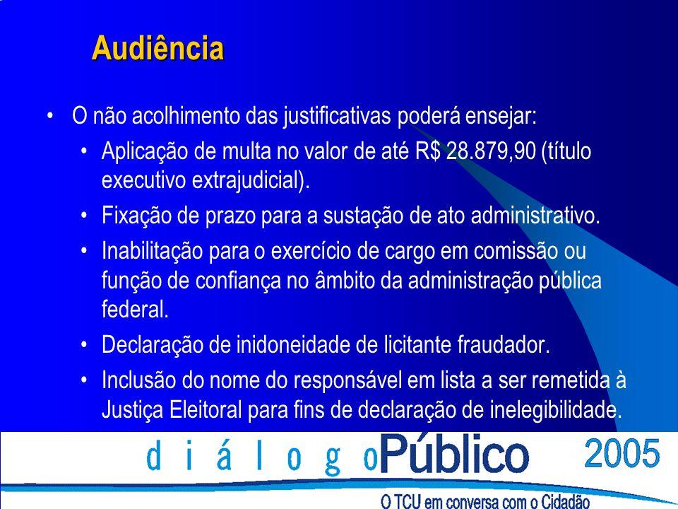 Audiência O não acolhimento das justificativas poderá ensejar: Aplicação de multa no valor de até R$ 28.879,90 (título executivo extrajudicial).
