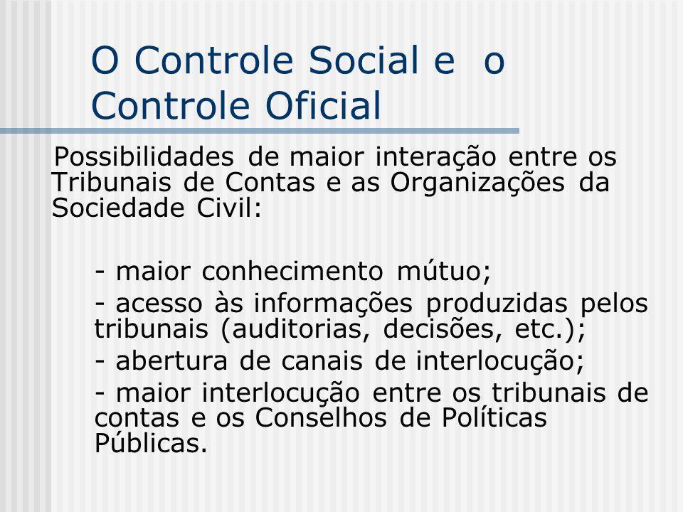 O Controle Social e o Controle Oficial Possibilidades de maior interação entre os Tribunais de Contas e as Organizações da Sociedade Civil: - maior co