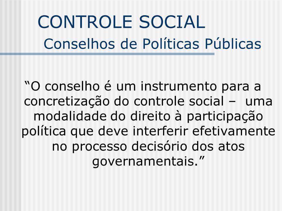 CONTROLE SOCIAL Conselhos de Políticas Públicas O conselho é um instrumento para a concretização do controle social – uma modalidade do direito à part
