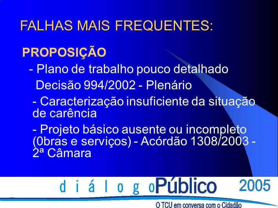 FALHAS MAIS FREQUENTES: PROPOSIÇÃO - Plano de trabalho pouco detalhado Decisão 994/2002 - Plenário - Caracterização insuficiente da situação de carênc
