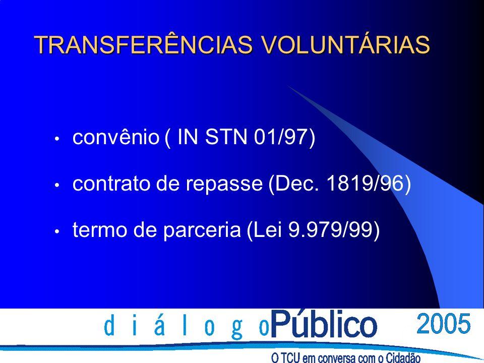TRANSFERÊNCIAS VOLUNTÁRIAS convênio ( IN STN 01/97) contrato de repasse (Dec. 1819/96) termo de parceria (Lei 9.979/99)