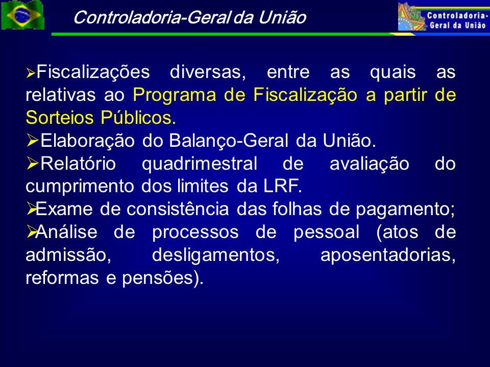 Controladoria-Geral da União Fiscalizações diversas, entre as quais as relativas ao Programa de Fiscalização a partir de Sorteios Públicos. Elaboração