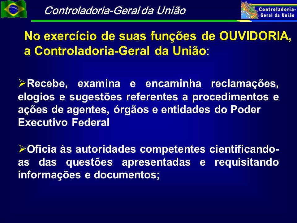 Controladoria-Geral da União No exercício de suas funções de OUVIDORIA, a Controladoria-Geral da União: Recebe, examina e encaminha reclamações, elogi