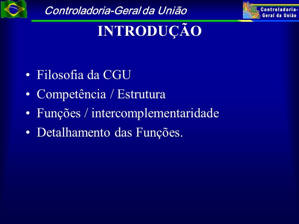 Controladoria-Geral da União INTRODUÇÃO Filosofia da CGU Competência / Estrutura Funções / intercomplementaridade Detalhamento das Funções.