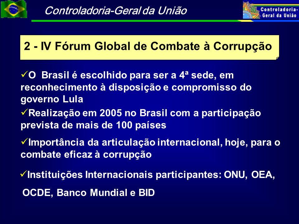 Controladoria-Geral da União 2 - IV Fórum Global de Combate à Corrupção Realização em 2005 no Brasil com a participação prevista de mais de 100 países