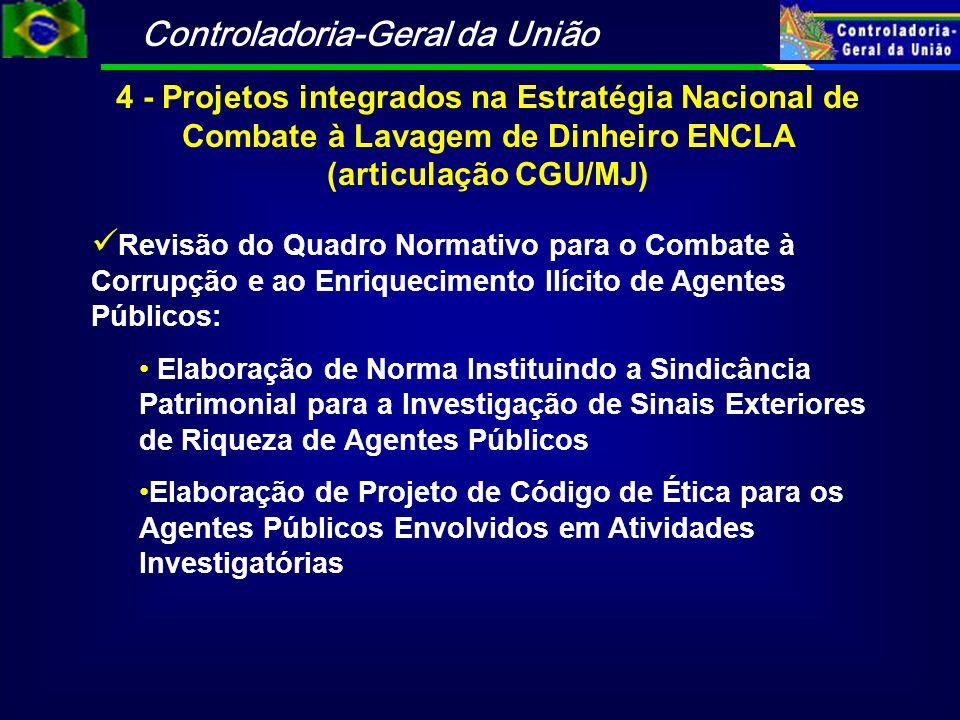 Controladoria-Geral da União 4 - Projetos integrados na Estratégia Nacional de Combate à Lavagem de Dinheiro ENCLA (articulação CGU/MJ) Revisão do Qua