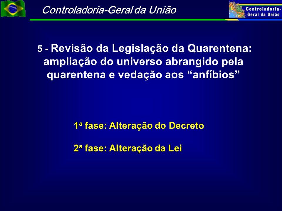 Controladoria-Geral da União 5 - Revisão da Legislação da Quarentena: ampliação do universo abrangido pela quarentena e vedação aos anfíbios 1 a fase:
