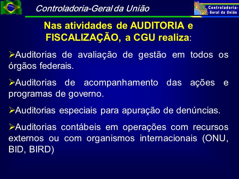 Controladoria-Geral da União Nas atividades de AUDITORIA e FISCALIZAÇÃO, a CGU realiza : Auditorias de avaliação de gestão em todos os órgãos federais