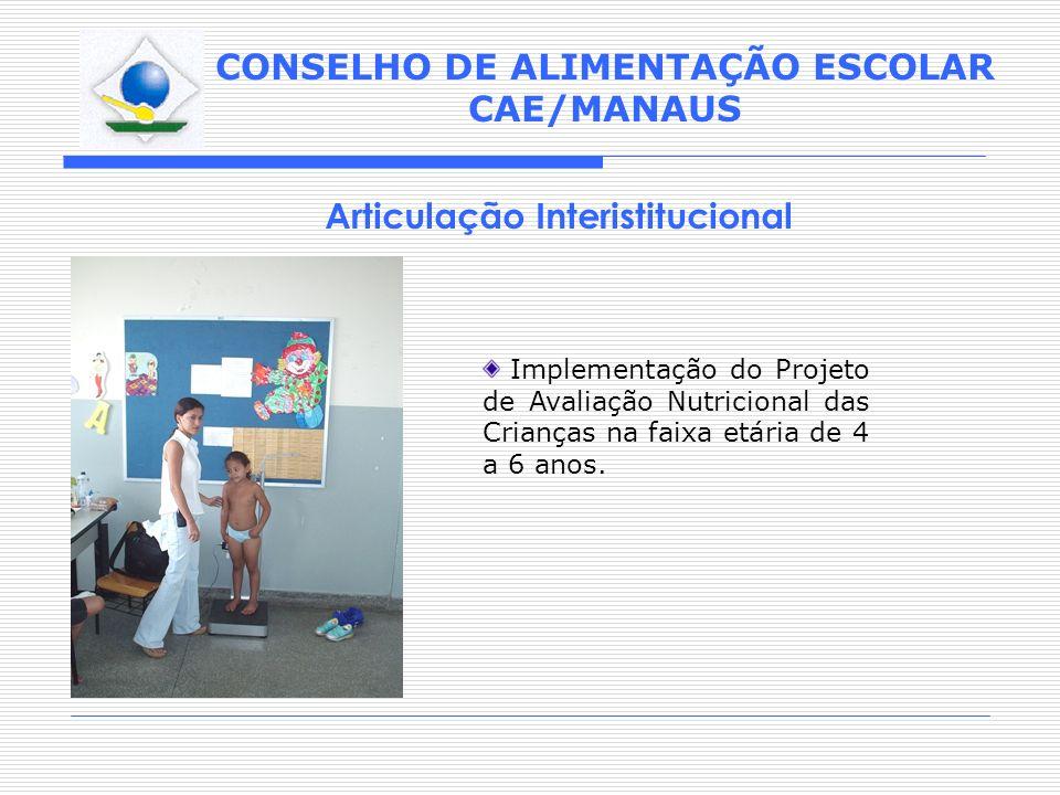 CONSELHO DE ALIMENTAÇÃO ESCOLAR CAE/MANAUS Articulação Interistitucional Implementação do Projeto de Avaliação Nutricional das Crianças na faixa etári