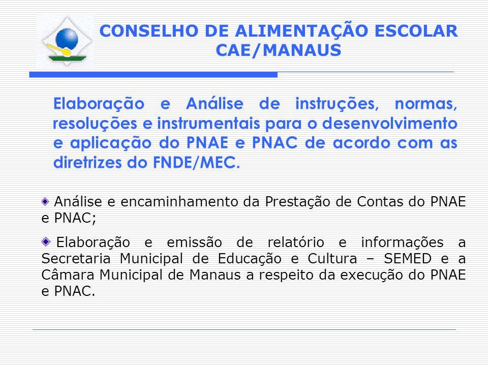 CONSELHO DE ALIMENTAÇÃO ESCOLAR CAE/MANAUS Elaboração e Análise de instruções, normas, resoluções e instrumentais para o desenvolvimento e aplicação d