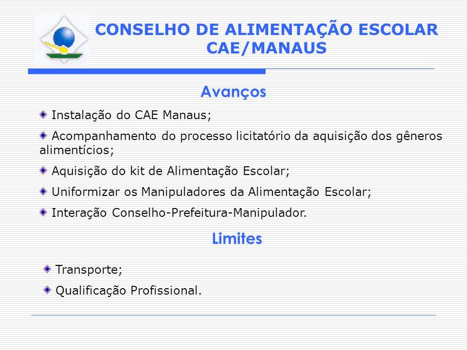 CONSELHO DE ALIMENTAÇÃO ESCOLAR CAE/MANAUS Avanços Instalação do CAE Manaus; Acompanhamento do processo licitatório da aquisição dos gêneros alimentíc