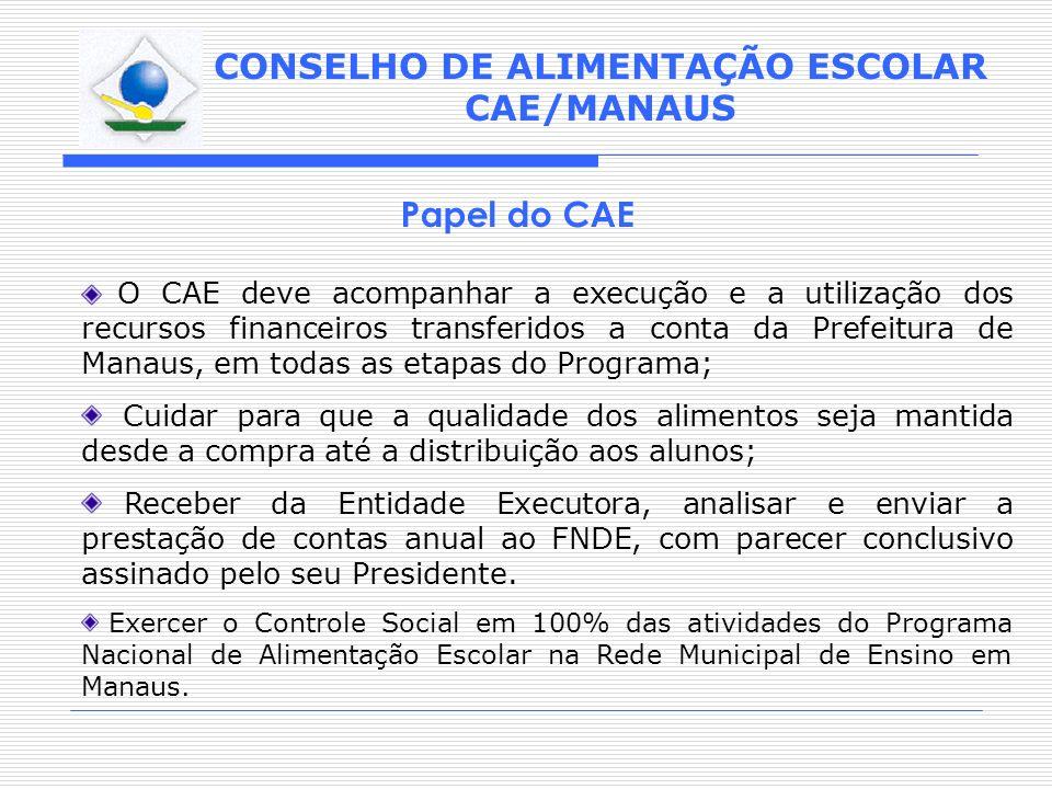 CONSELHO DE ALIMENTAÇÃO ESCOLAR CAE/MANAUS Papel do CAE O CAE deve acompanhar a execução e a utilização dos recursos financeiros transferidos a conta