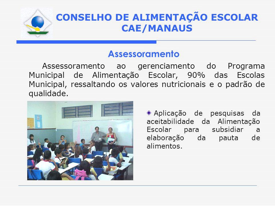 CONSELHO DE ALIMENTAÇÃO ESCOLAR CAE/MANAUS Assessoramento ao gerenciamento do Programa Municipal de Alimentação Escolar, 90% das Escolas Municipal, re