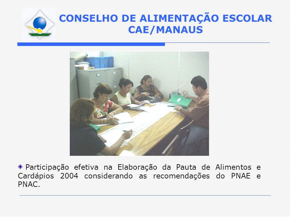 CONSELHO DE ALIMENTAÇÃO ESCOLAR CAE/MANAUS Participação efetiva na Elaboração da Pauta de Alimentos e Cardápios 2004 considerando as recomendações do