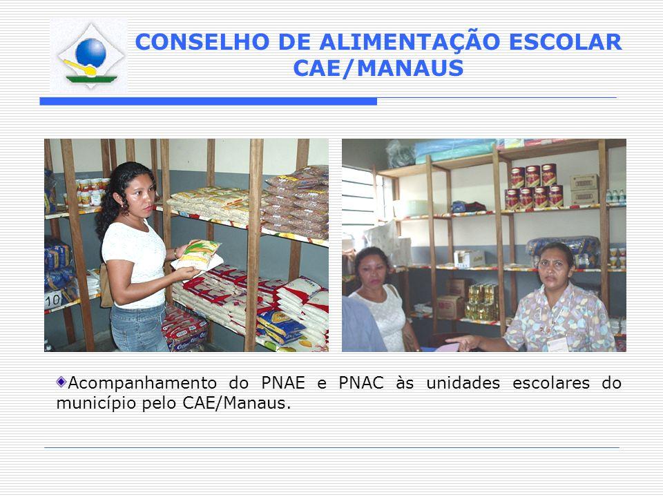 CONSELHO DE ALIMENTAÇÃO ESCOLAR CAE/MANAUS Acompanhamento do PNAE e PNAC às unidades escolares do município pelo CAE/Manaus.
