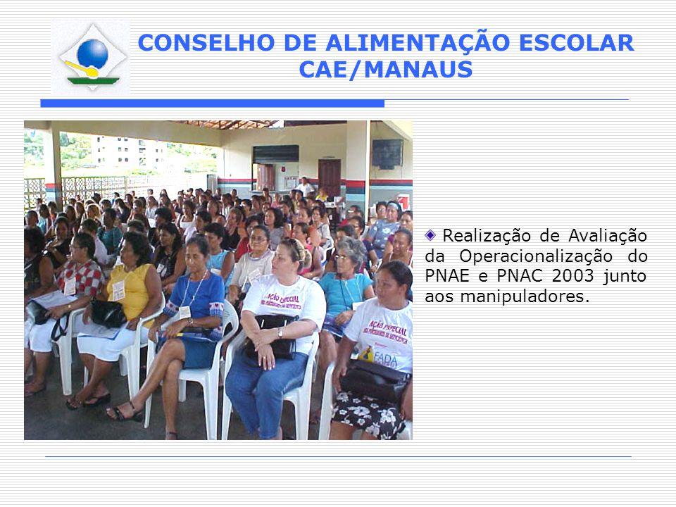 CONSELHO DE ALIMENTAÇÃO ESCOLAR CAE/MANAUS Realização de Avaliação da Operacionalização do PNAE e PNAC 2003 junto aos manipuladores.