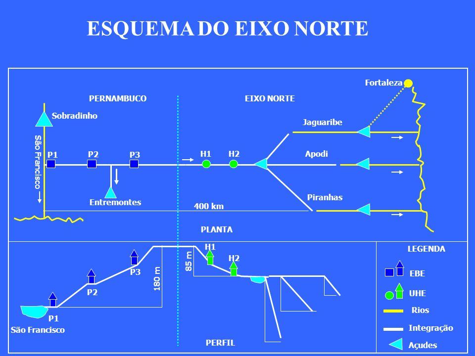 P1 P2 P3 H1 H2 P1 P2 P3 H1 H2 Jaguaribe Apodi Piranhas São Francisco PERNAMBUCO EIXO NORTE PLANTA PERFIL 180 m 85 m Sobradinho EBE UHE Rios Integração