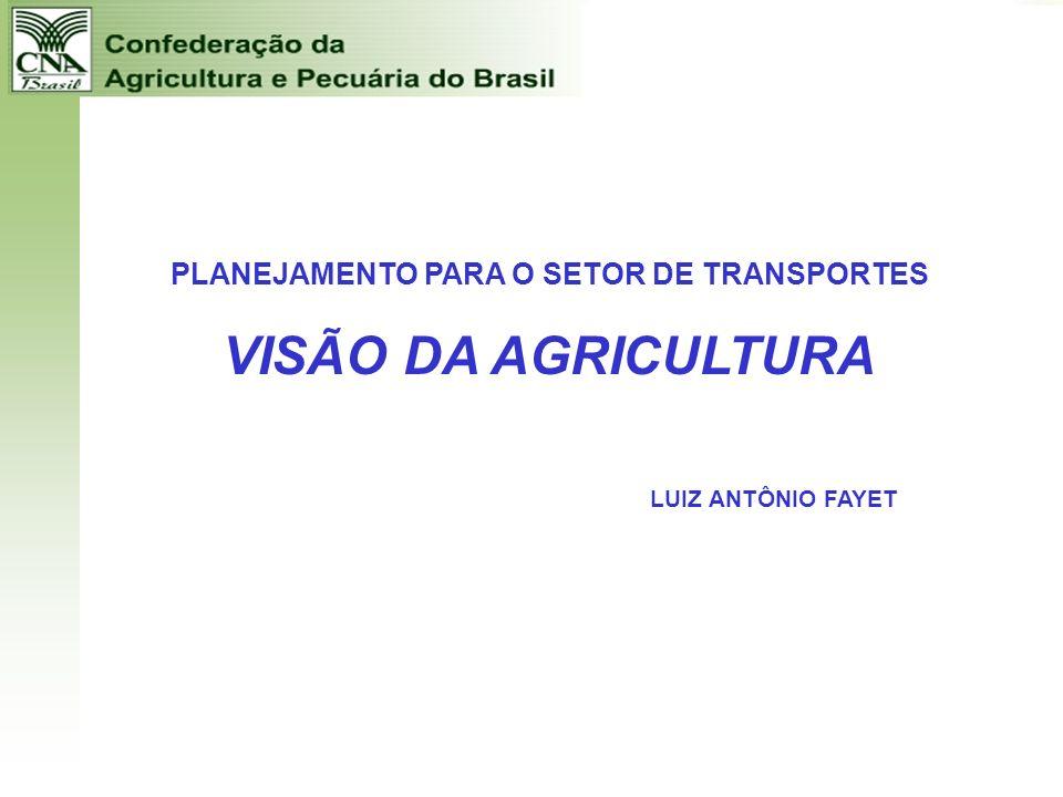 PLANEJAMENTO PARA O SETOR DE TRANSPORTES VISÃO DA AGRICULTURA LUIZ ANTÔNIO FAYET