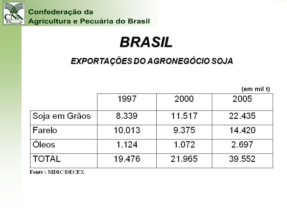 BRASIL EXPORTAÇÕES DO AGRONEGÓCIO DE CARNES (em mil t)